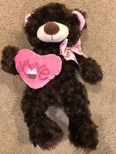 "Best Made Toys Brown Plush Teddy Bear 12"" Stuffed Animal Love Heart Feet Ribbon"