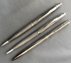 3 hallmarked silver ballpoint pens inc Yard O Led & Glider Pilots Regt C&C maker