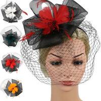 Retro Women Flower Fascinators Hat Feather Beads Hair Band Headband Accessories