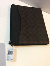COACH 64562 Mahogany & Brown Sig Print PVC Tech Case Sleeve Portfolio NWT iPad