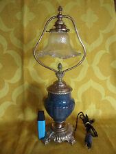 Jolie LAMPE ANCIENNE DE TABLE en Bronze, Laiton et Céramique.Début XXe.H 43 cm