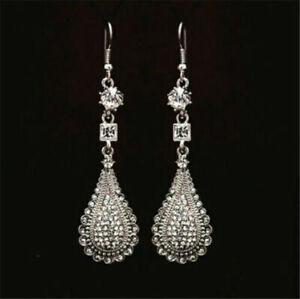 New Vintage White Gold Plated Crystal Water Drop Long Hook Dangle Drop Earrings