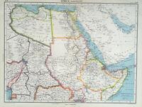 Antique Map Of Africa 1947 Libya Egypt Ethiopia Somaliland Arabia Nigeria