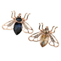 2Pcs Vintage Crystal Enamel Honey Bee Brooch Insect Bug Hat Lapel Pin Badge