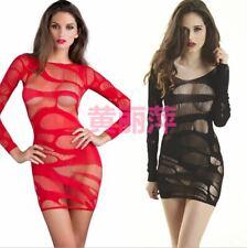 Sexy Bodycon Mini Dress LBD Long Sleeve Stretch Clubwear Nightwear See Through