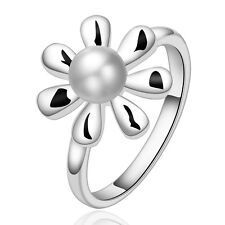 925 Sterling Silver Pearl Flower Band Weeding Ring Size 7 B129