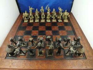 African Chess Set Vintage Bronze / Brass 1960s  Hand Made cast Metal