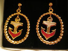 VTG. AVON DROP ANCHOR PIERCED EARRINGS/SURGICAL STEEL POSTS (GOLDTONE)1992*NIB*