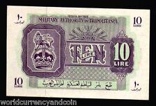 TRIPOLITANIA LIBYA 10 LIRE M4 1943 LION AUNC MIDDLE EAST ARAB ITALY MONEY NOTE