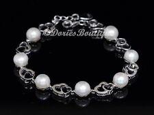 Pure 8mm Creamy White Pearl 925 Sterling Silver Chain Bracelet .925 Fine Jewelry