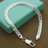 Hot Solid Silver Men Womens Snake Chain Bracelet Bangle Wedding Jewellery Gift