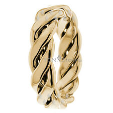 6MM SOLID 10K GOLD HAND BRAIDED WEDDING BAND RINGS MENS AND WOMENS WEDDING RING