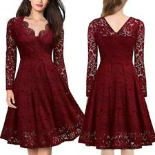 Fashion Women Dress V Neck Long Sleeves Evening Party Dresses Clothing LA