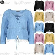 Long Sleeve Lace Up Plunge Tops & Shirts for Women