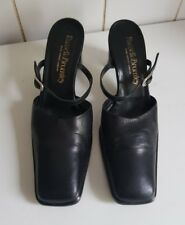 RUSSELL & BROMLEY DESIGNER WOMENS BLACK LEATHER LOW MULES SHOES SIZE UK 3 EU 36