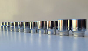 "Metric Sockets 12pc 8mm to 29mm, 1/2"" Drive, Heavy Duty, Precision Minimax Tools"