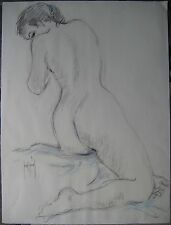 SAINT GENIES DESSIN ÉROTIQUE CRAYON PASTEL SIGNÉ HANDSIGNED EROTIC DRAWING