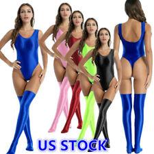 US Women Stretchy Glossy Swimsuit Swimwear Monokini Bodysuit +Stocking Swimwear