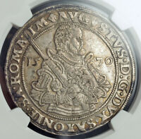 1570, Saxony (Electorate), Augustus I. Beautiful Silver Thaler Coin. NGC AU-55!