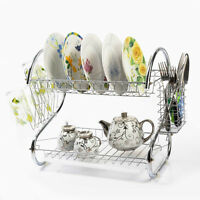 Stainless 2 Tiers Kitchen Storage Dish Cup Drying Rack Holder Organizer Drainer