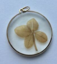 Vintage 9ct 375 Yellow Gold Lucky Four Leaf Clover Pendant Necklace Charm