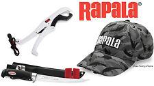 "Rapala Fishing Set - 9"" Fillet Knife, Floating Lip Grips & Fish Camo LED Hat Cap"