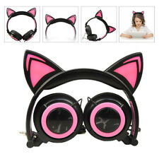 CL107 Foldable Cat Ear LED Music Lights Headphone Earphone Headset For Laptop L