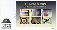 JERSEY 2015 FDC seconda guerra mondiale Battaglia della Gran Bretagna 6V M / S COVER Spitfire della RAF L'AVIAZIONE STAMPS