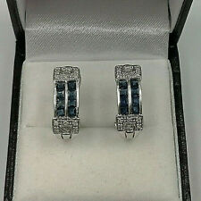 14ct White Gold Sapphire & Diamond Earrings.  Goldmine Jewellers.
