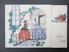 Vintage CHRISTMAS Card 1940s Crinoline Regency Lady Visting With Present Holly