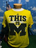 U of M Michigan Wolverines go to TEE yellow blue large L T-shirt Shirt c20