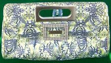 """GUESS 13"""" Authentic Multi Color Yellow Gray Opus Handbag Med Clutch Purse"""