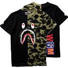 New Mens Ape Shark Head Camo Army T-shirt Tops M purple Bape A Bathing T-shirt
