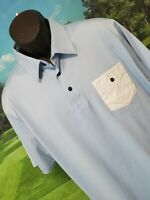 TRAVIS MATHEW Mens Golf Polo BABY BLUE Shirt Size XL