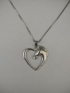 Jewellery -Silver Plated Horse Pendant & Sterling Silver Chain - Dceased Estate