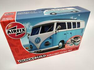 VW bus combi Volkswagen T1 bleu a monter style Lego longueur 17cm  Airfix neuf