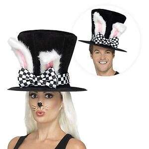 Alice in Wonderland March Hare Top Hat with White Rabbit Ears Tea Party Costume