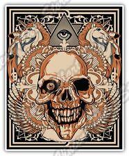 "Eye Providence Illuminati Skull Gift Idea Car Bumper Vinyl Sticker Decal 4""X5""."