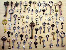 60 New Keys Antique Vintage Style Steampunk Findings Old Beads Charms Craft B6