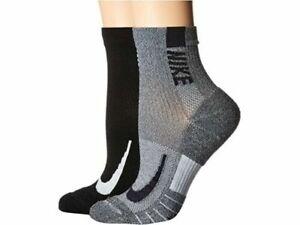 Nike 2-Pack Multiplier Anke Sport Socks Size: Men 8-12, Women 10-13 Black/Grey