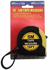 16'-5m Foot Rubberized Tape Measure Lock Release Lever Belt Clip Tape Measure