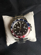 PARNIS GMT 11 / SUBMARINER WATCH RED / BLUE CERAMIC BEZEL SS SAPPHIRE STERILE