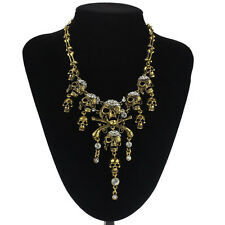Crystal Encrusted Statement Multi Skull+Crossbone Necklace/Drape/Bib/Collar