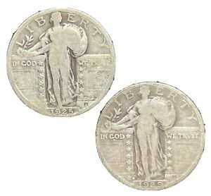 Standing Liberty Quarter 1925 & 1929 US Silver Coin Deal Circulated 90% Silver