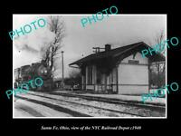 OLD LARGE HISTORIC PHOTO OF SANTA FE OHIO, THE NYC RAILROAD DEPOT c1940
