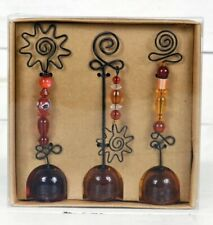 Pier 1 Imports Photo Note Card Holder Set of 3 Wire-beaded Glass Amber NIB