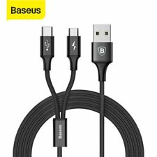 Baseus Micro USB + Type C Charge Cable 2 in 1 Charging Adapter Lead Black 1.2m
