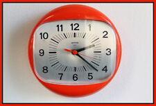 Vintage Space Age Wall Clock ORANGE GORENJE Mid Century Retro 70's