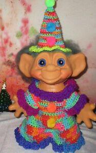 "TROLL CLOTHES  / Fits 11 - 12"" Jumbo Dolls ooak CLOWN BIRTHDAY suit hat large"