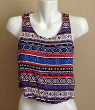 FOREVER 21 Ladies Crop Top Southwest Multicolored Open Back Size S Gently